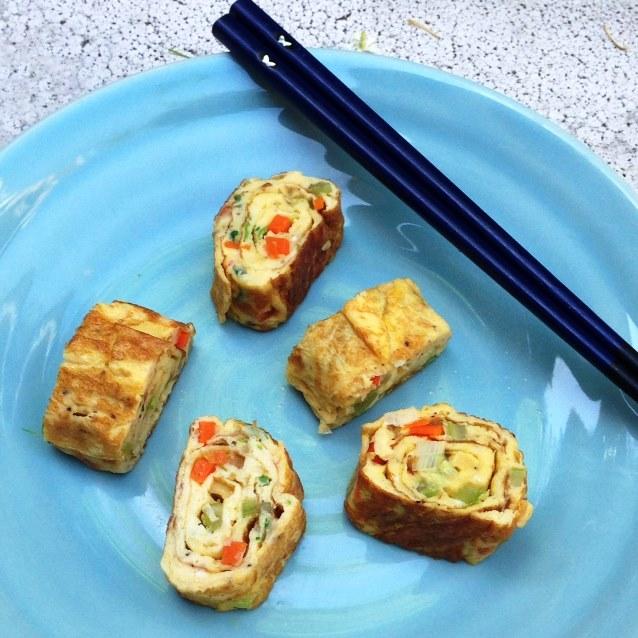 Tamagoyaki. Japanese Omelette Rolls