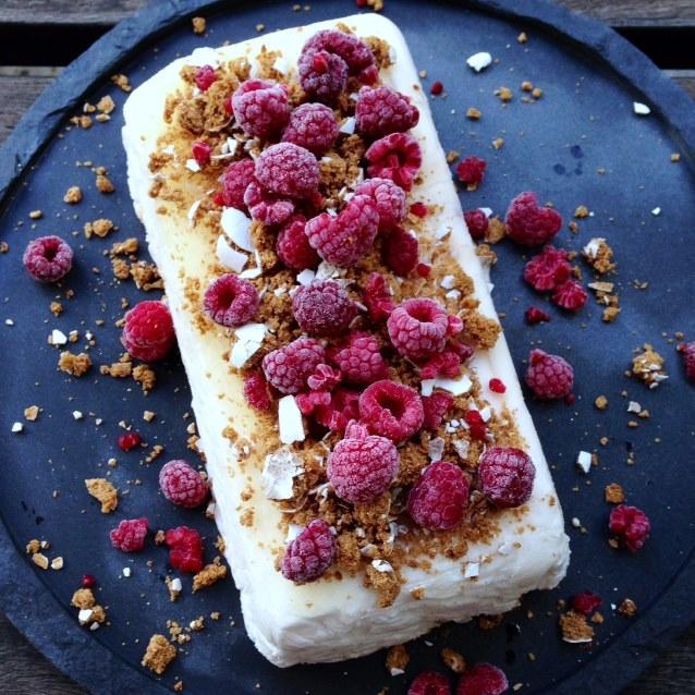 Raspberry Yoghurt Semifreddo With Gingerbread Crumbs