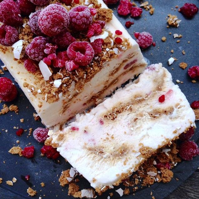 Raspberry Yoghurt Semifreddo With Gingerbread