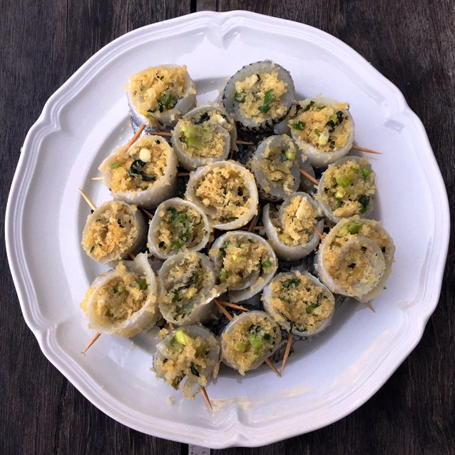 Rolled Garfish Filled With Lemon and Basil Panko Crumbs