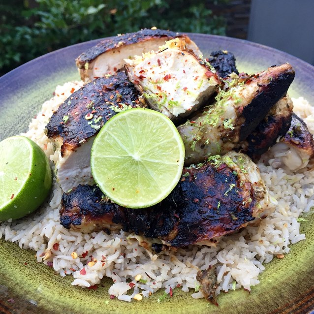 Barbecued Flattened Chicken With A Lime And Coconut Pilaf