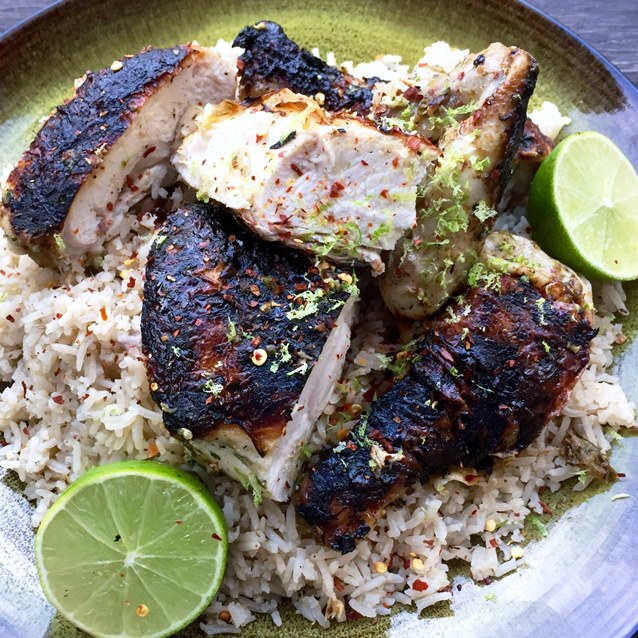 Barbecued Flattened Chicken With Lime And Coconut Pilaf