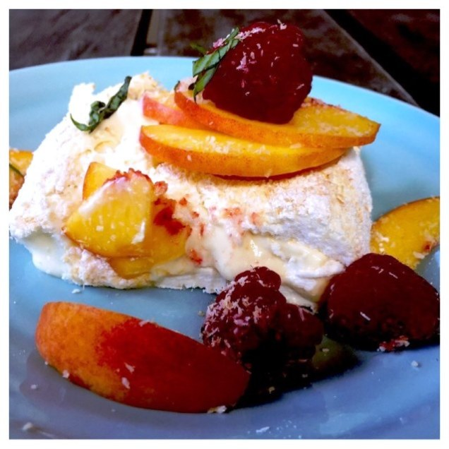 Australia Day. Pavlova Roulade With Lemon Curd, Peaches, Raspberries ...