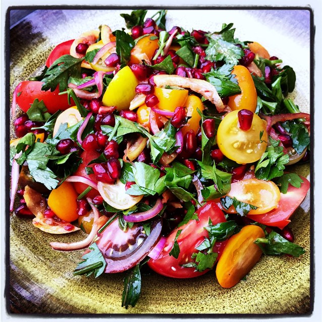 Roasted Lemon, Pomegranate And Tomato Salad