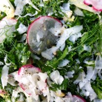 Tuscan Style Shredded Kale, Fennel And Radish Salad With Pine Nuts And Parmesan