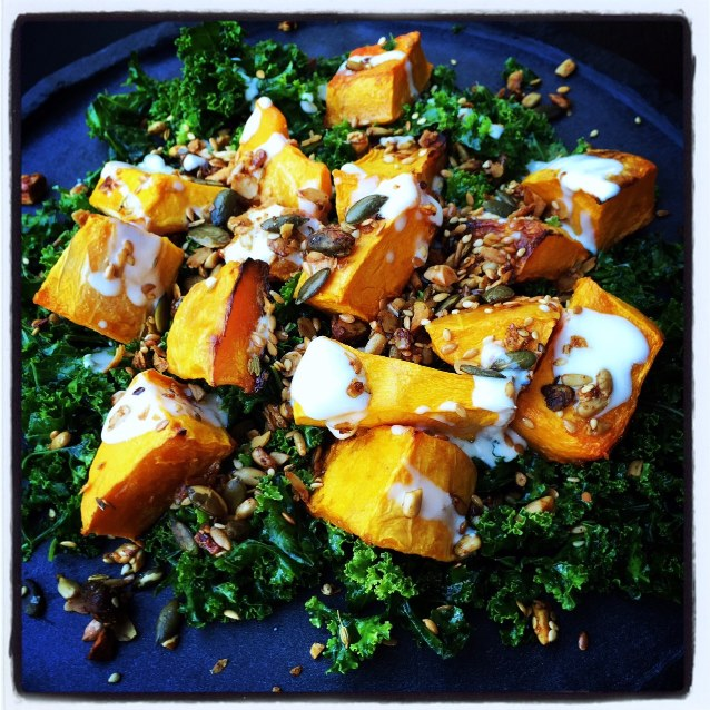 Shredded Kale Salad With Roast Pumpkin And Savoury Granola