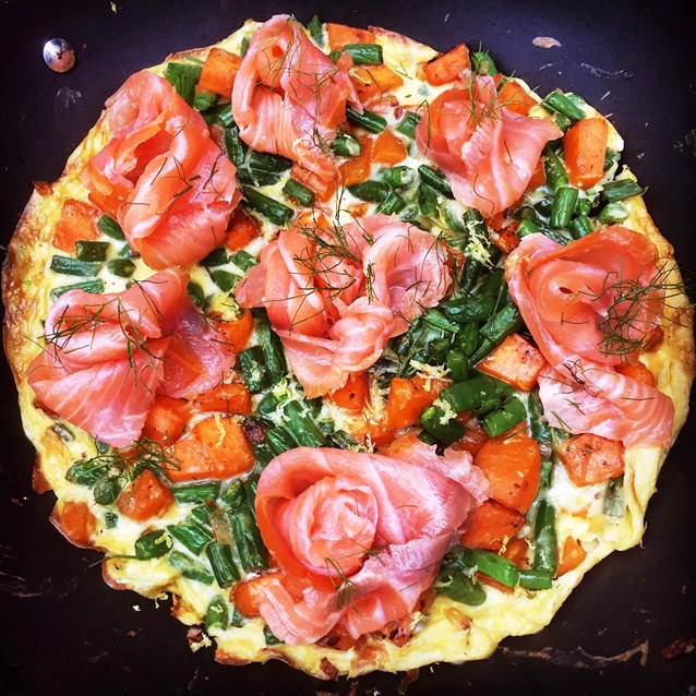 Sweet Potato And Green Bean Frittata With Smoked Salmon
