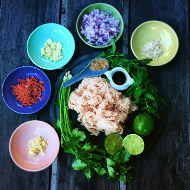 Larb Gao.Thai Chicken Salad.