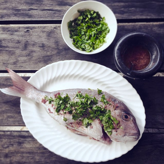 Seafood Sunday. Barbecued Whole Snapper With Coriander, Chilli And Lime.