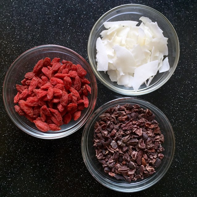 Black Forest Goji Berry, Cacao Nib and Flaked Coconut Trail Mix
