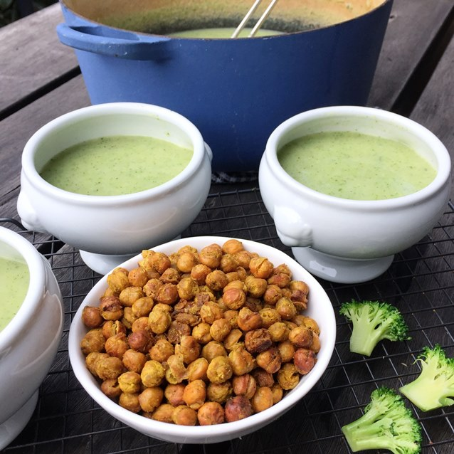 Creamy Broccoli Soup With Crispy Oven Roasted Chickpeas