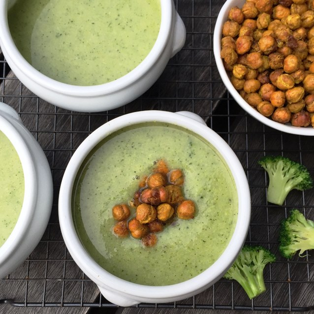 Creamy Broccoli Soup With  Oven Roasted Chickpeas