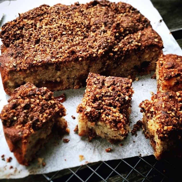 Hazelnut Coffee Cake With A Sour Cherry Jam Swirl And Chocolate Crumble