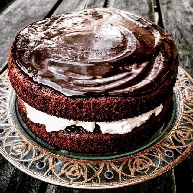 Chocolate Layer Cake With Whipped Cream, Cherry Jam and Ganache
