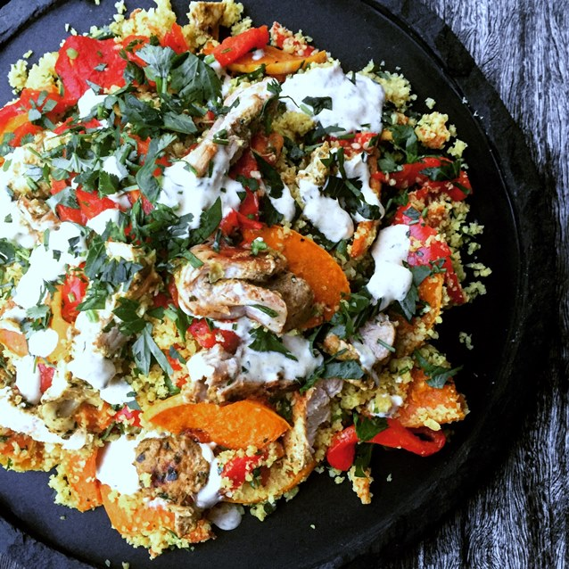 Warm Cauliflower Couscous with Grilled Chermoula Spiced Chicken, Roast Pumpkin And Capsicum