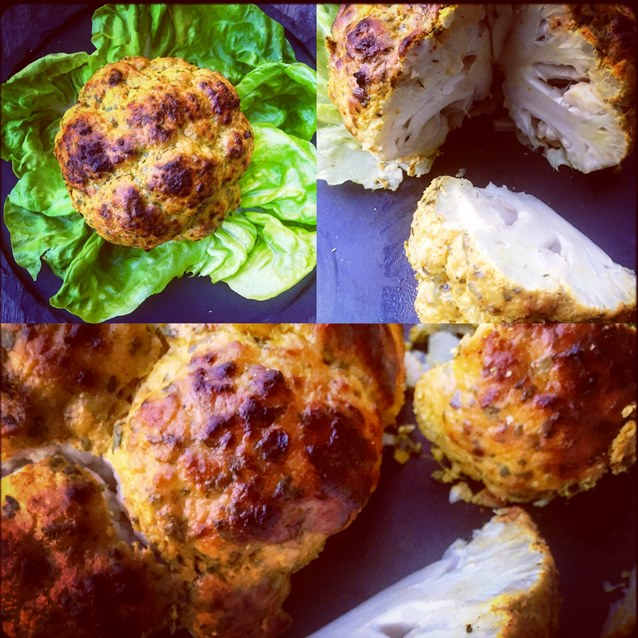 Whole Roasted Cauliflower With A Chermoula Spiced Yoghurt Crust