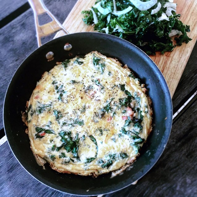 Kale and Bacon Frittata  Dressed With A Kale and Fennel Salad