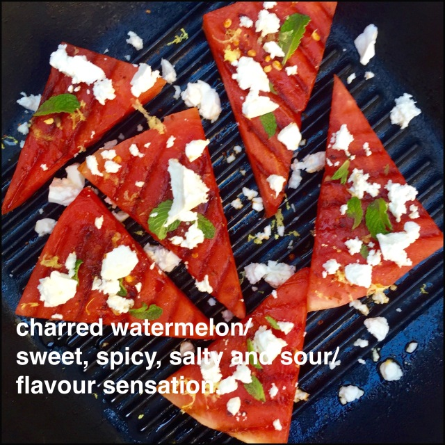 Charred Watermelon With Chilli, Lime, Mint and Feta