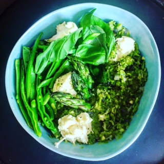 Asparagus Risotto With Snow Peas, Mozzarella and Basil